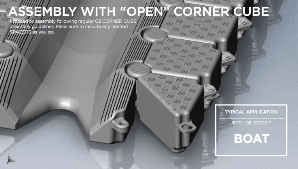 Assembly with open corner cube