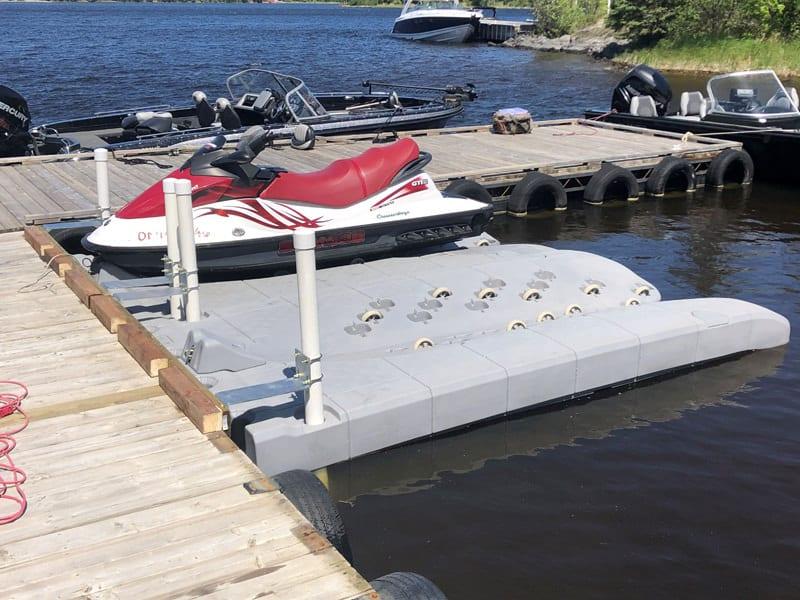 Candock JetROLL is a foam filled jet ski floating dock with wheels